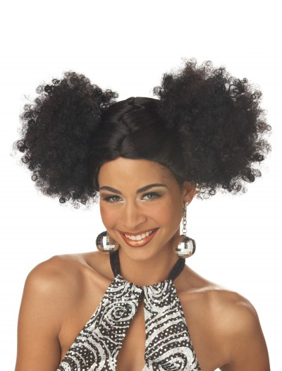 Black Disco Puffs Wig, halloween costume (Black Disco Puffs Wig)