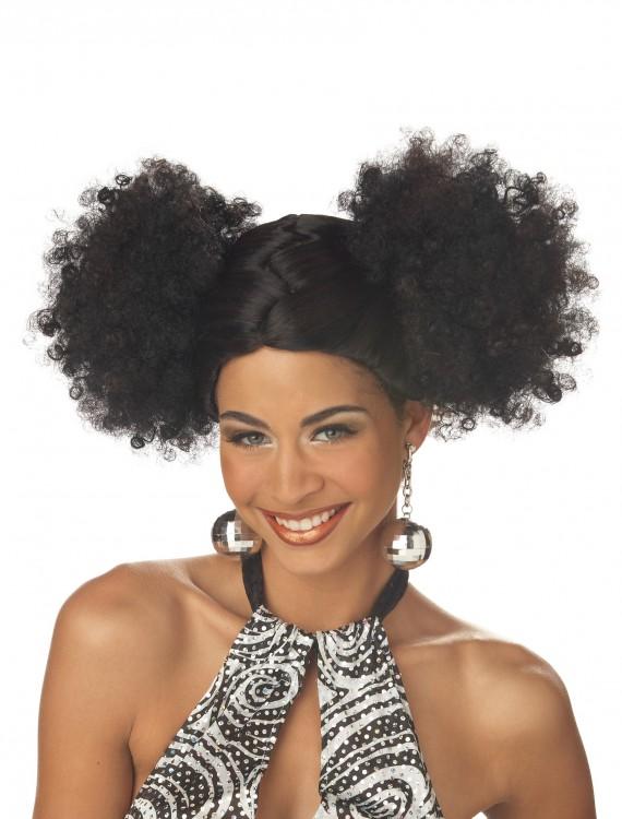 Black Disco Puffs Wig, halloween costume (Black Disco Puffs Wig)