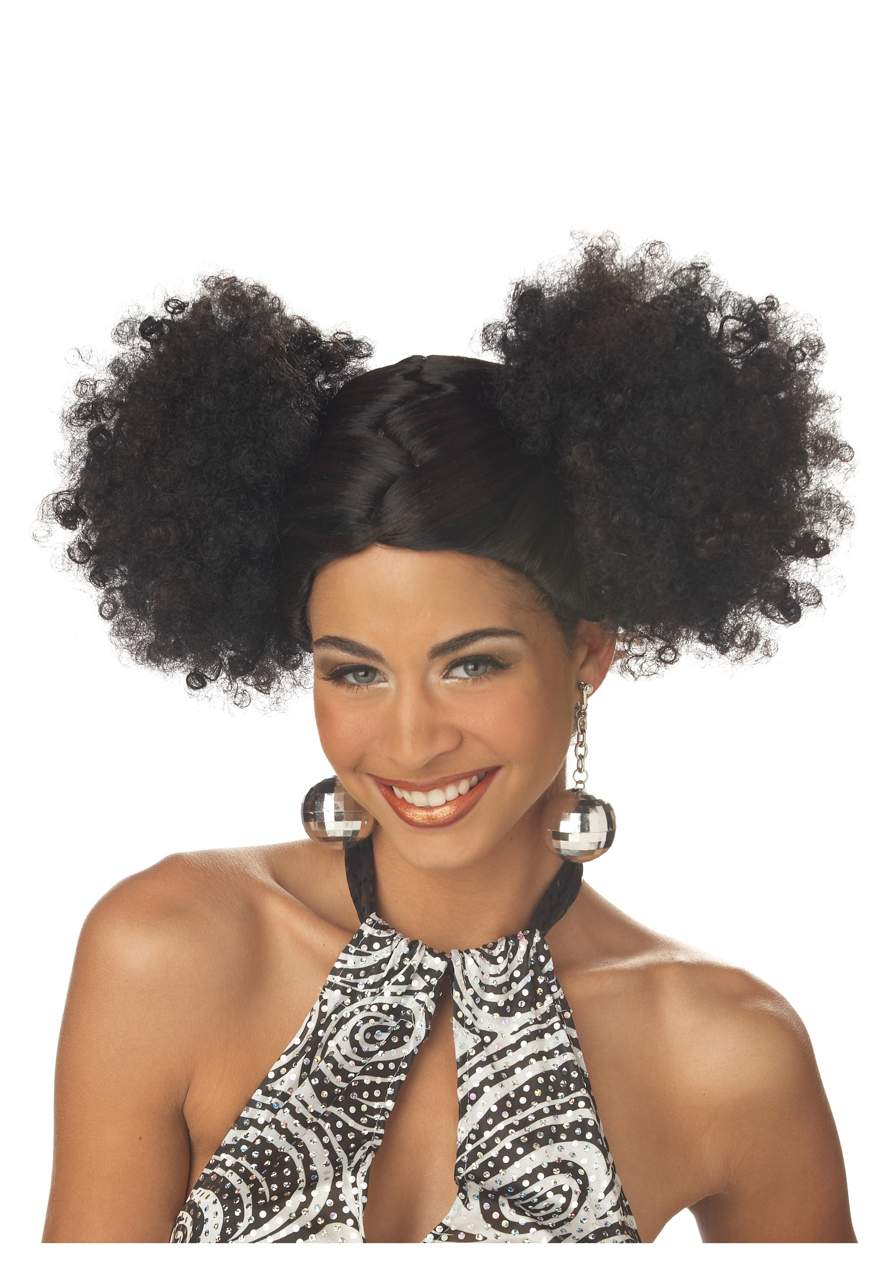 black disco puffs wig
