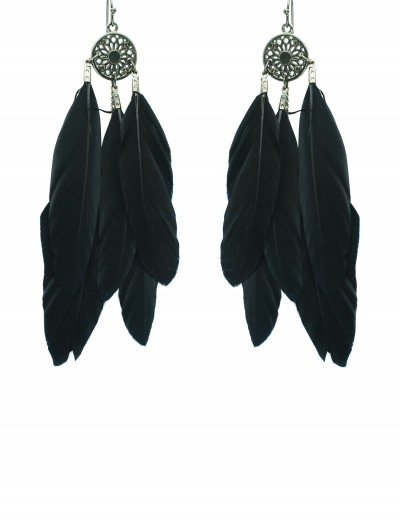 Black Feather Earrings, halloween costume (Black Feather Earrings)