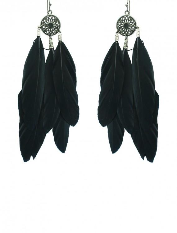 Black Feather Earrings, halloween costume (Black Feather Earrings)