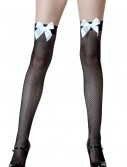 Black Fishnet / White Bow Thigh Highs, halloween costume (Black Fishnet / White Bow Thigh Highs)