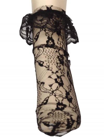 Black Lacey Anklet Sock, halloween costume (Black Lacey Anklet Sock)