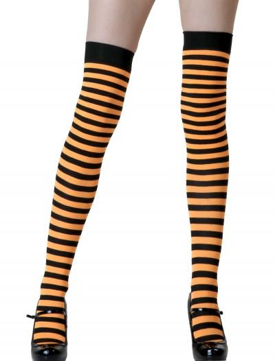 Black / Orange Striped Stockings, halloween costume (Black / Orange Striped Stockings)
