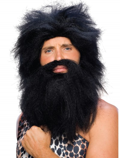 Black Prehistoric Wig and Beard, halloween costume (Black Prehistoric Wig and Beard)