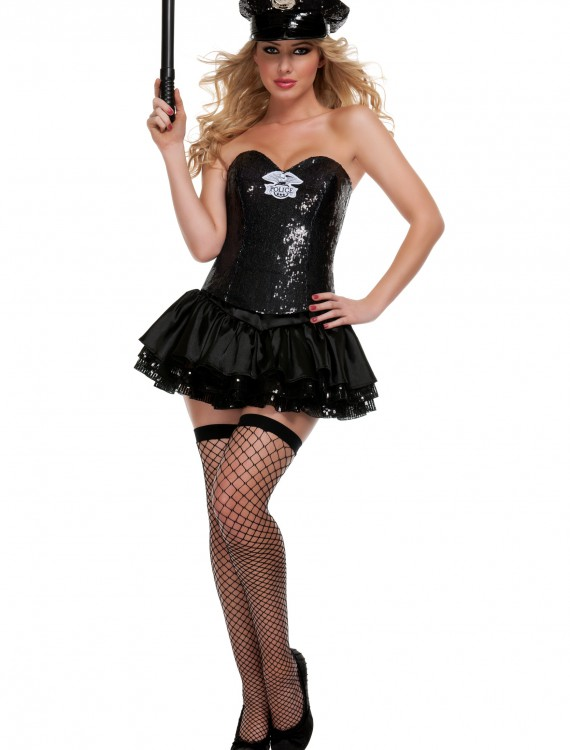 Black Sequin Cop Costume, halloween costume (Black Sequin Cop Costume)