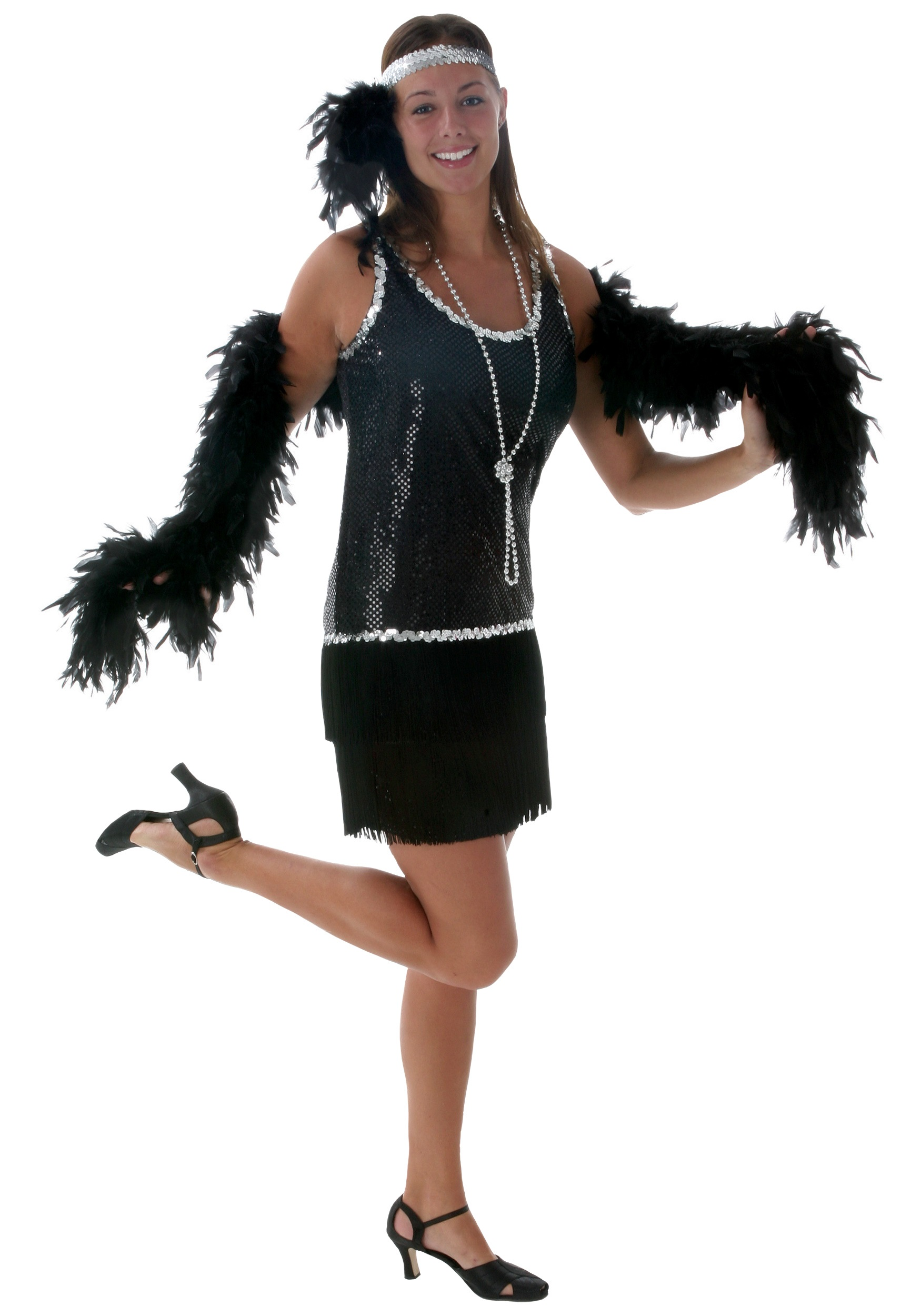 black sequin fringe plus size flapper