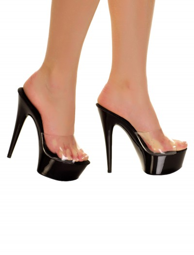 Black Slip In Heels with Clear Top, halloween costume (Black Slip In Heels with Clear Top)