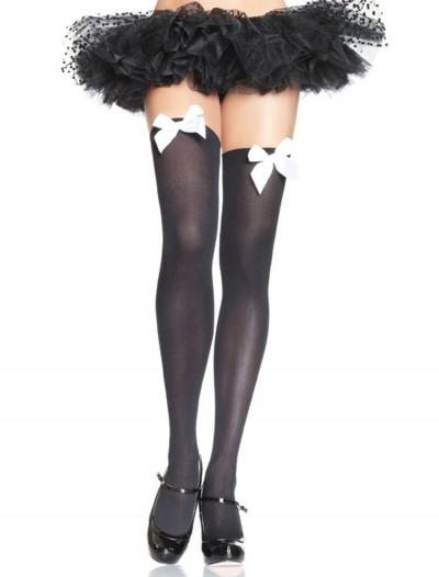 Black Stockings with White Bows, halloween costume (Black Stockings with White Bows)