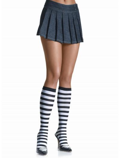 Black / White Striped Knee High Stockings, halloween costume (Black / White Striped Knee High Stockings)