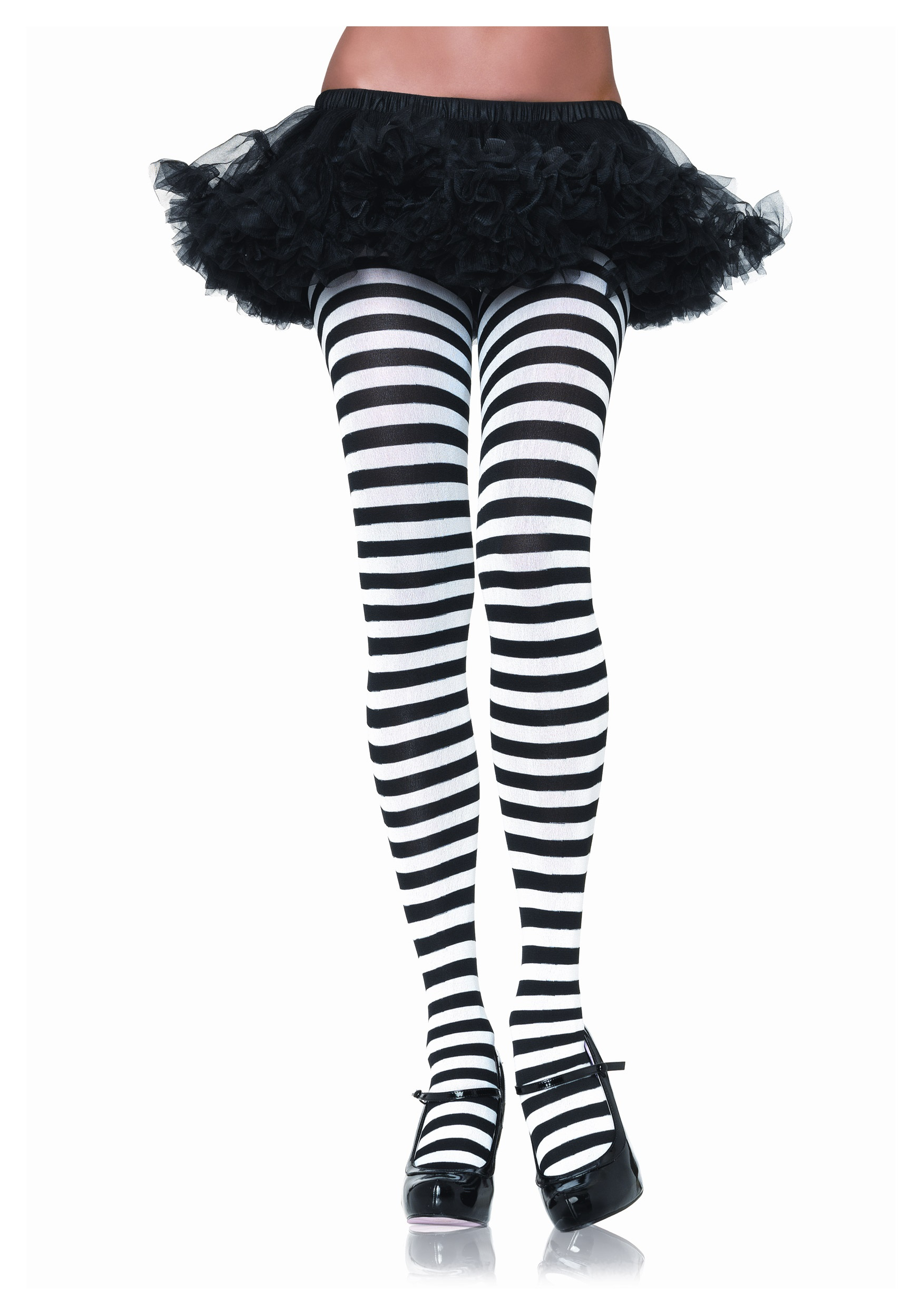 6fc271f6776ee Black & White Striped Tights - Halloween Costumes