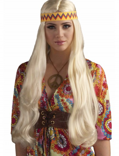 Blonde Hippie Chick Wig w/ Headband, halloween costume (Blonde Hippie Chick Wig w/ Headband)