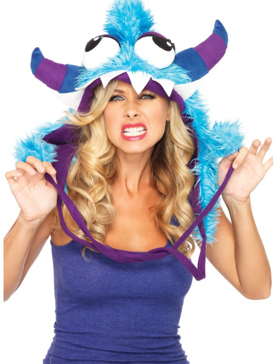 Blue Bert Furry Monster Hood, halloween costume (Blue Bert Furry Monster Hood)