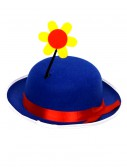 Blue Clown Derby Hat with Flower, halloween costume (Blue Clown Derby Hat with Flower)