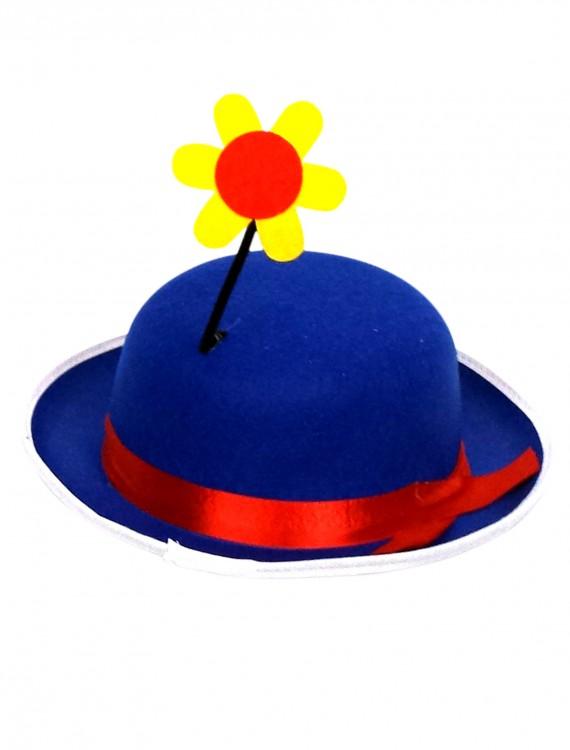Blue Clown Derby Hat with Flower, halloween costume (Blue Clown Derby Hat with Flower)