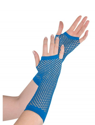 Blue Fishnet Long Gloves, halloween costume (Blue Fishnet Long Gloves)