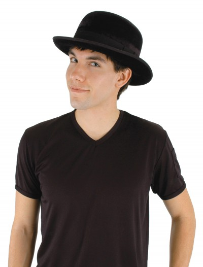 Black Velour Bowler Hat, halloween costume (Black Velour Bowler Hat)