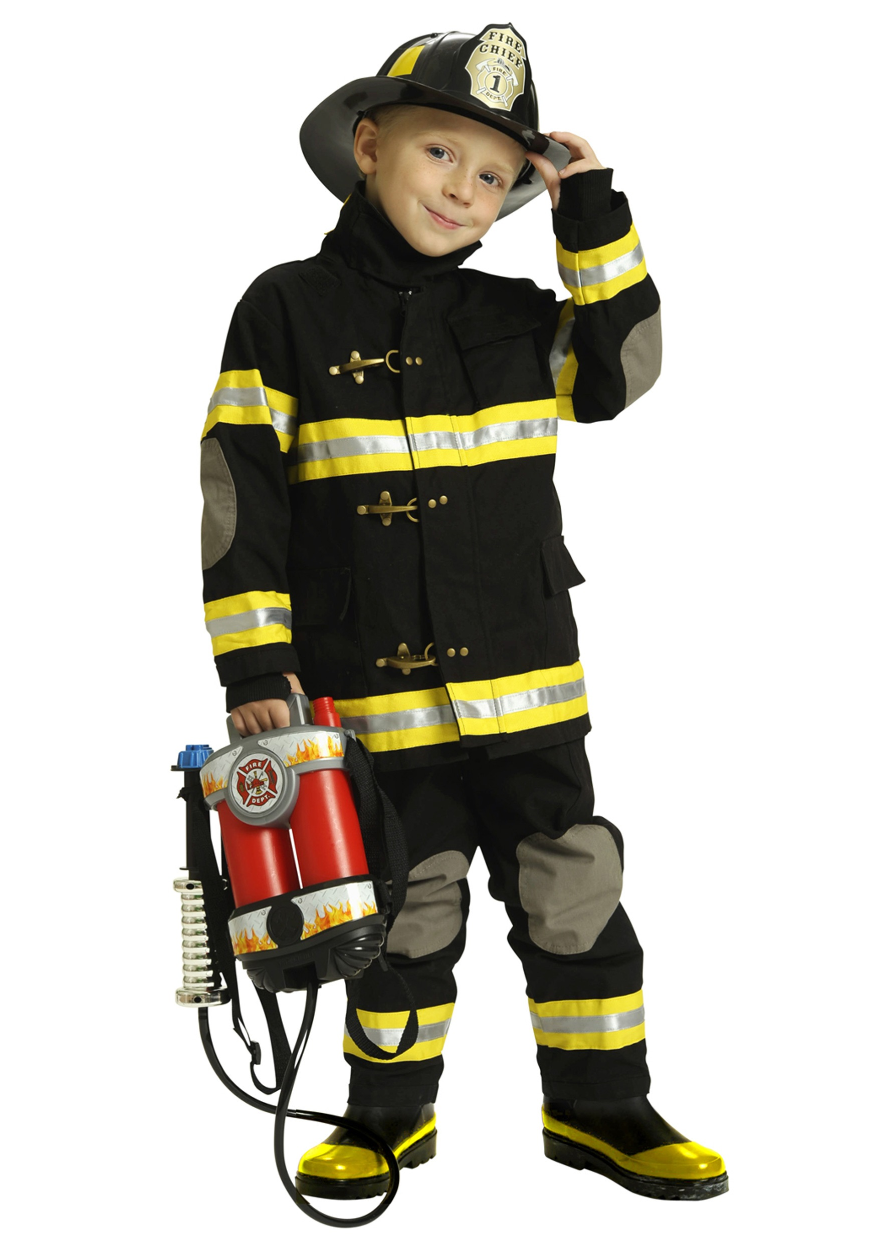 boys black fireman costume - Fireman Halloween