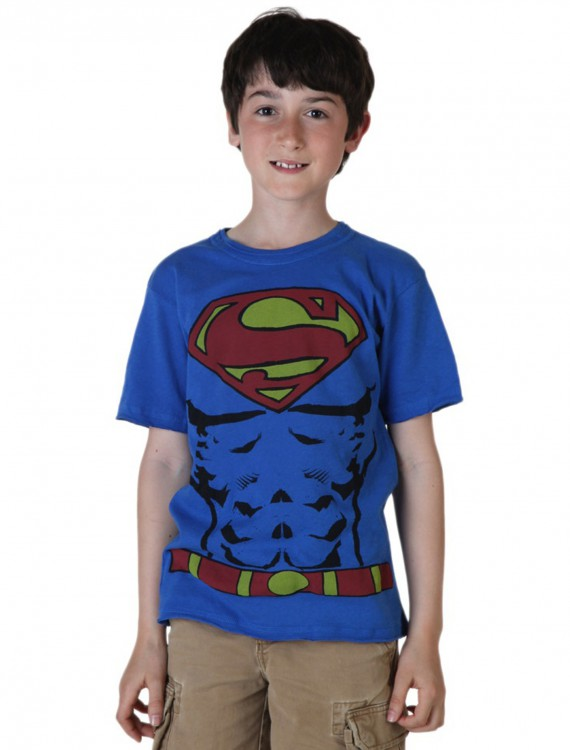 Boys Muscle Superman Costume T-Shirt, halloween costume (Boys Muscle Superman Costume T-Shirt)