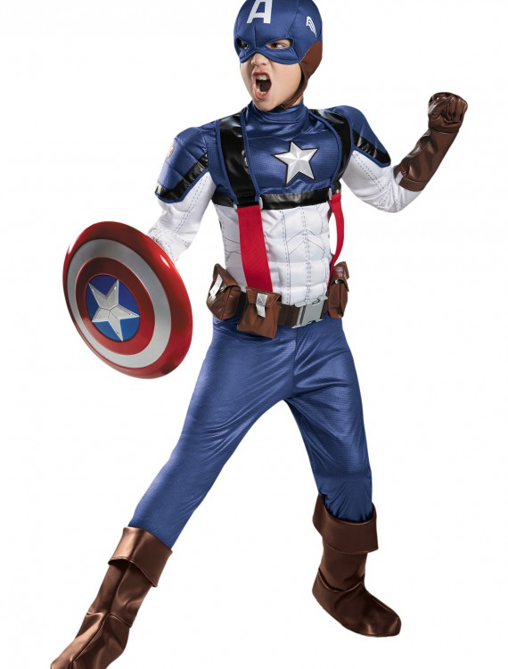 Boys Retro Captain America Prestige Costume, halloween costume (Boys Retro Captain America Prestige Costume)