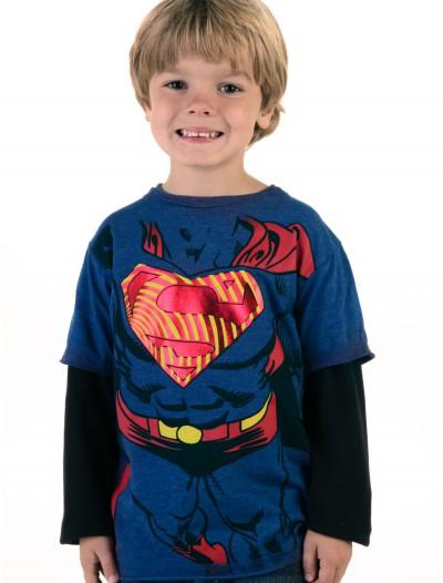 Boys Superman Longsleeve Costume T-Shirt, halloween costume (Boys Superman Longsleeve Costume T-Shirt)