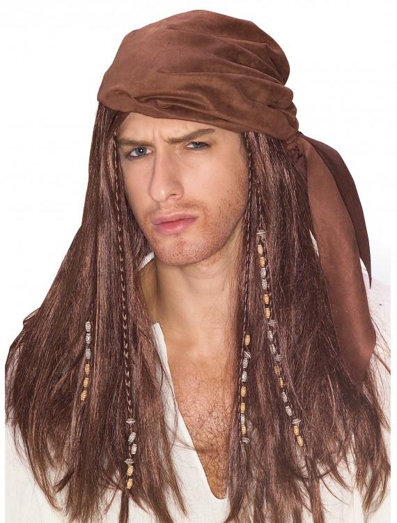 Brown Caribbean Pirate Wig, halloween costume (Brown Caribbean Pirate Wig)