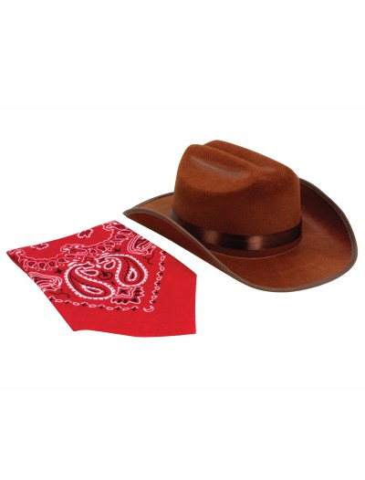 Brown Cowboy Hat and Bandana Set, halloween costume (Brown Cowboy Hat and Bandana Set)