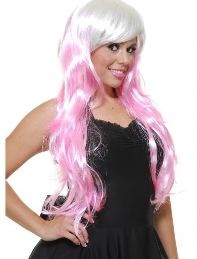 Bubble Gum White/Pink Wig, halloween costume (Bubble Gum White/Pink Wig)