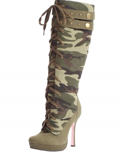 Camo Laceup Boots, halloween costume (Camo Laceup Boots)