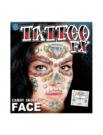 Candy Skull Face Temporary Tattoo, halloween costume (Candy Skull Face Temporary Tattoo)