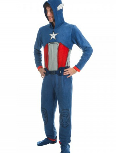 Captain America Mens Blue Union Suit, halloween costume (Captain America Mens Blue Union Suit)