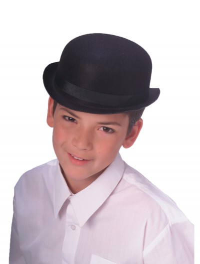 Child Black Bowler Hat, halloween costume (Child Black Bowler Hat)