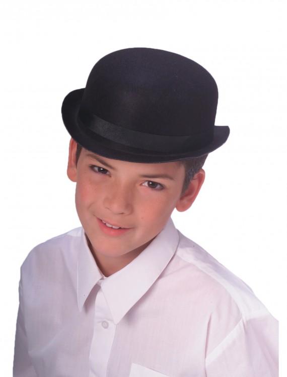 Child Black Bowler Hat, halloween costume (Child Black Bowler Hat)