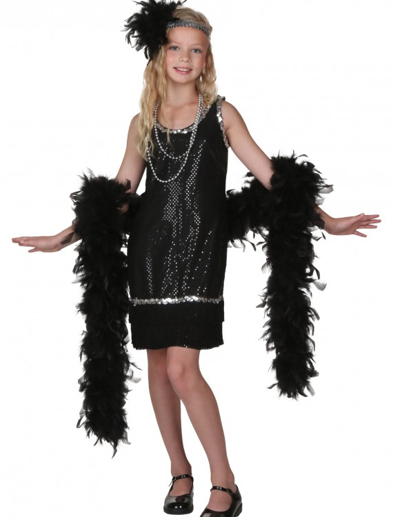 Child Black Sequin and Fringe Flapper Costume, halloween costume (Child Black Sequin and Fringe Flapper Costume)