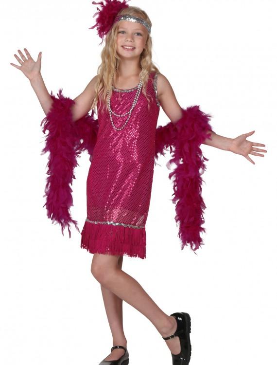 Child Fuchsia Sequin and Fringe Flapper Costume, halloween costume (Child Fuchsia Sequin and Fringe Flapper Costume)