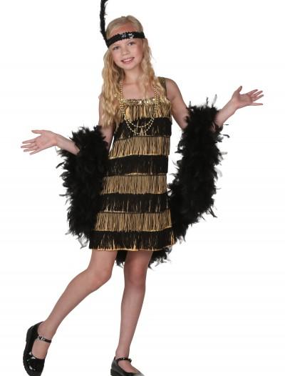Child Gold and Black Fringe Flapper Costume, halloween costume (Child Gold and Black Fringe Flapper Costume)