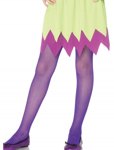 Child Neon Purple Fishnet Tights, halloween costume (Child Neon Purple Fishnet Tights)