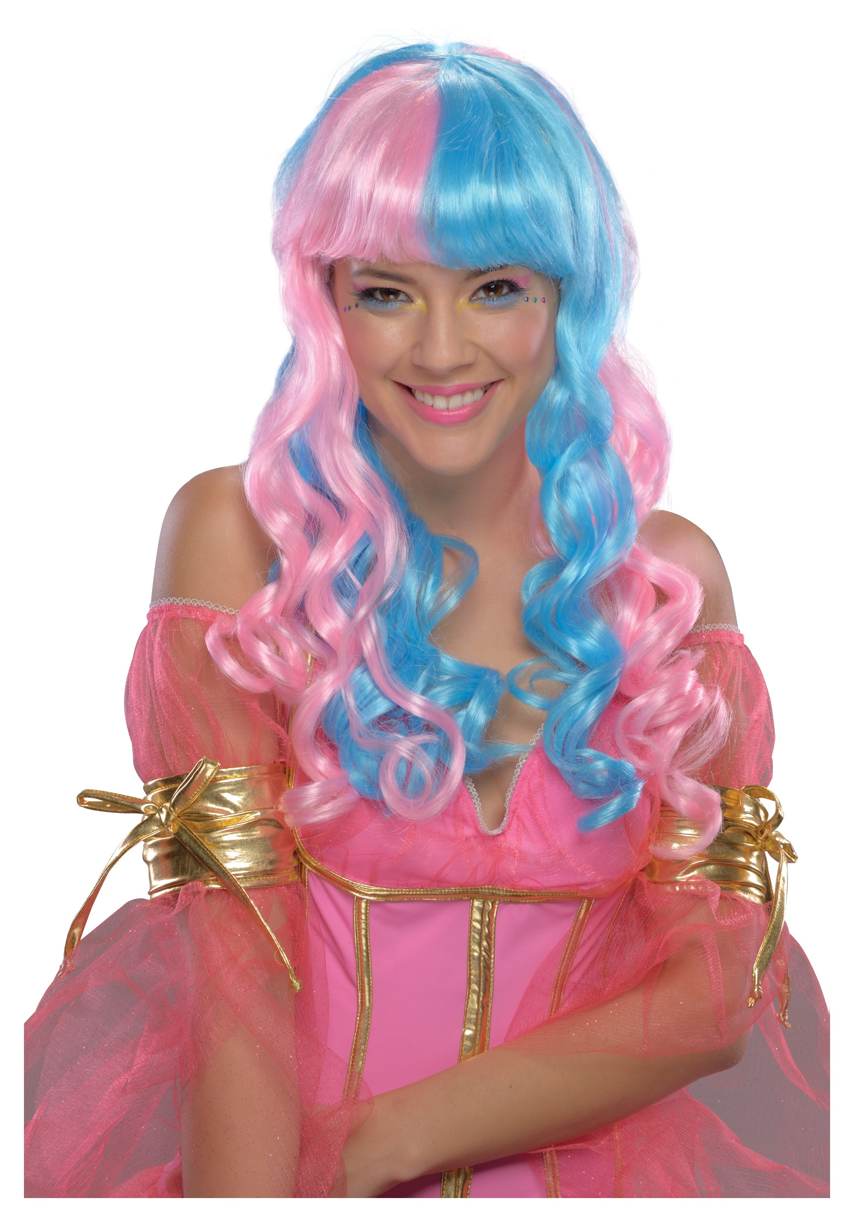 child pink and blue candy fairy wig