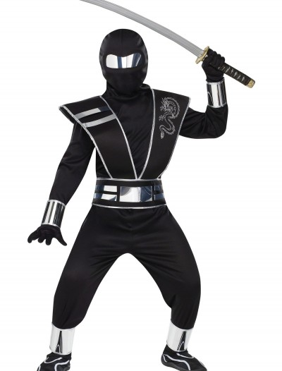 Child Silver Mirror Ninja Costume, halloween costume (Child Silver Mirror Ninja Costume)