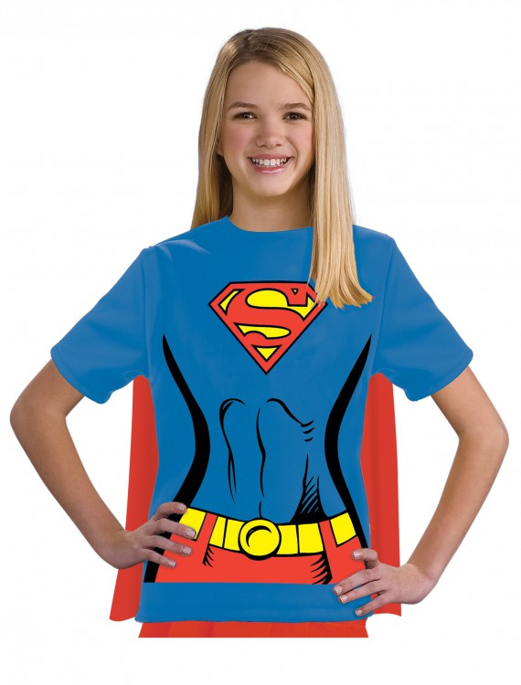 Child Supergirl T-Shirt Costume, halloween costume (Child Supergirl T-Shirt Costume)