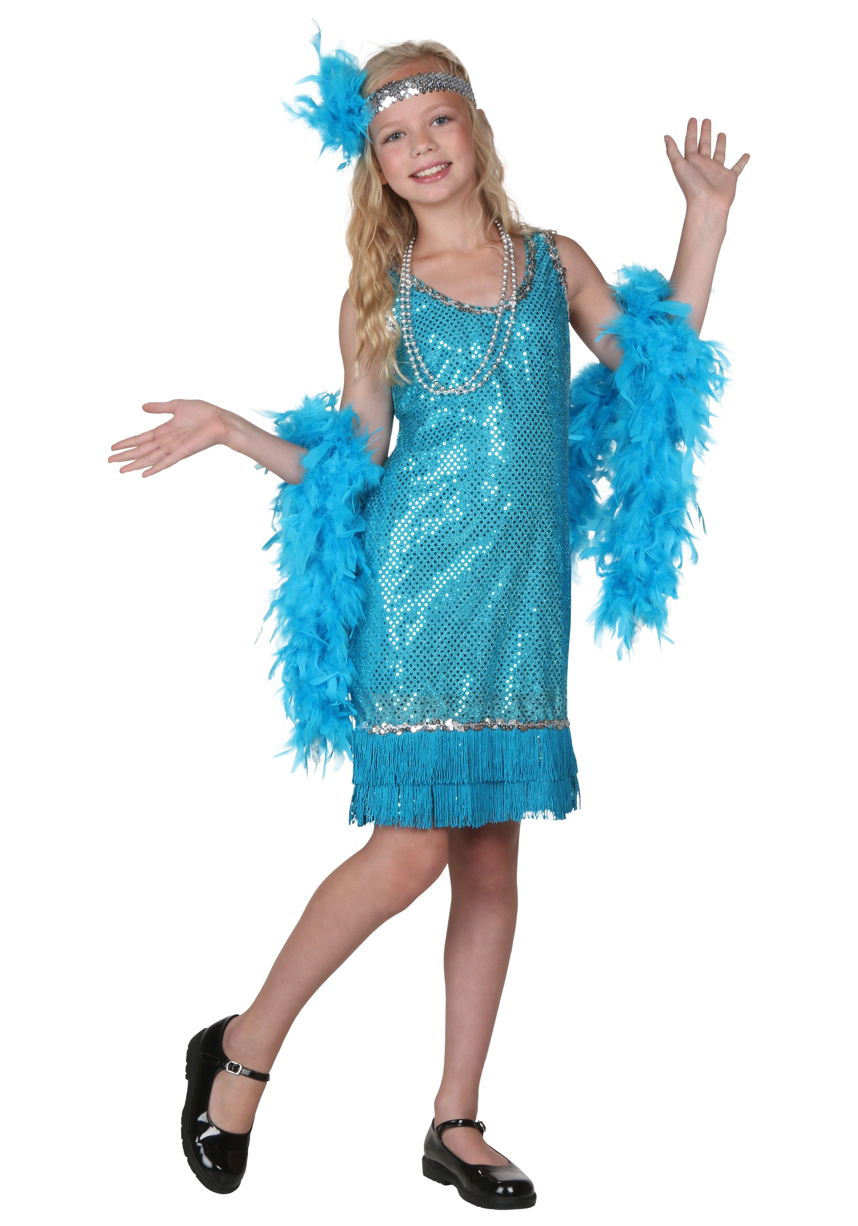Child Turquoise Sequin and Fringe Flapper Costume - Halloween Costumes