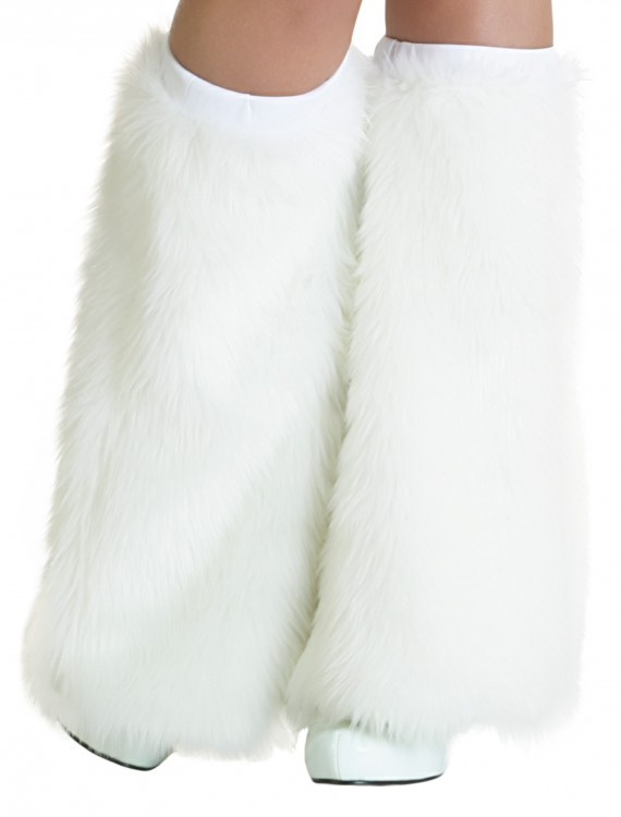 Child White Furry Boot Covers, halloween costume (Child White Furry Boot Covers)