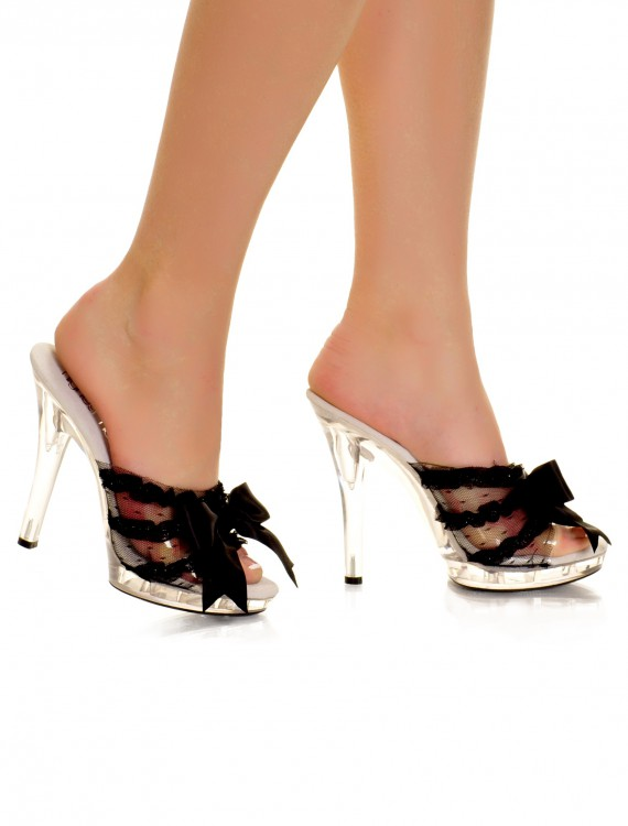 Clear Peep Toe Heel with Black Ribbon, halloween costume (Clear Peep Toe Heel with Black Ribbon)
