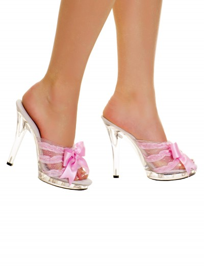 Clear Slip In Peep Toe Heels w/ Pink Ribbon, halloween costume (Clear Slip In Peep Toe Heels w/ Pink Ribbon)