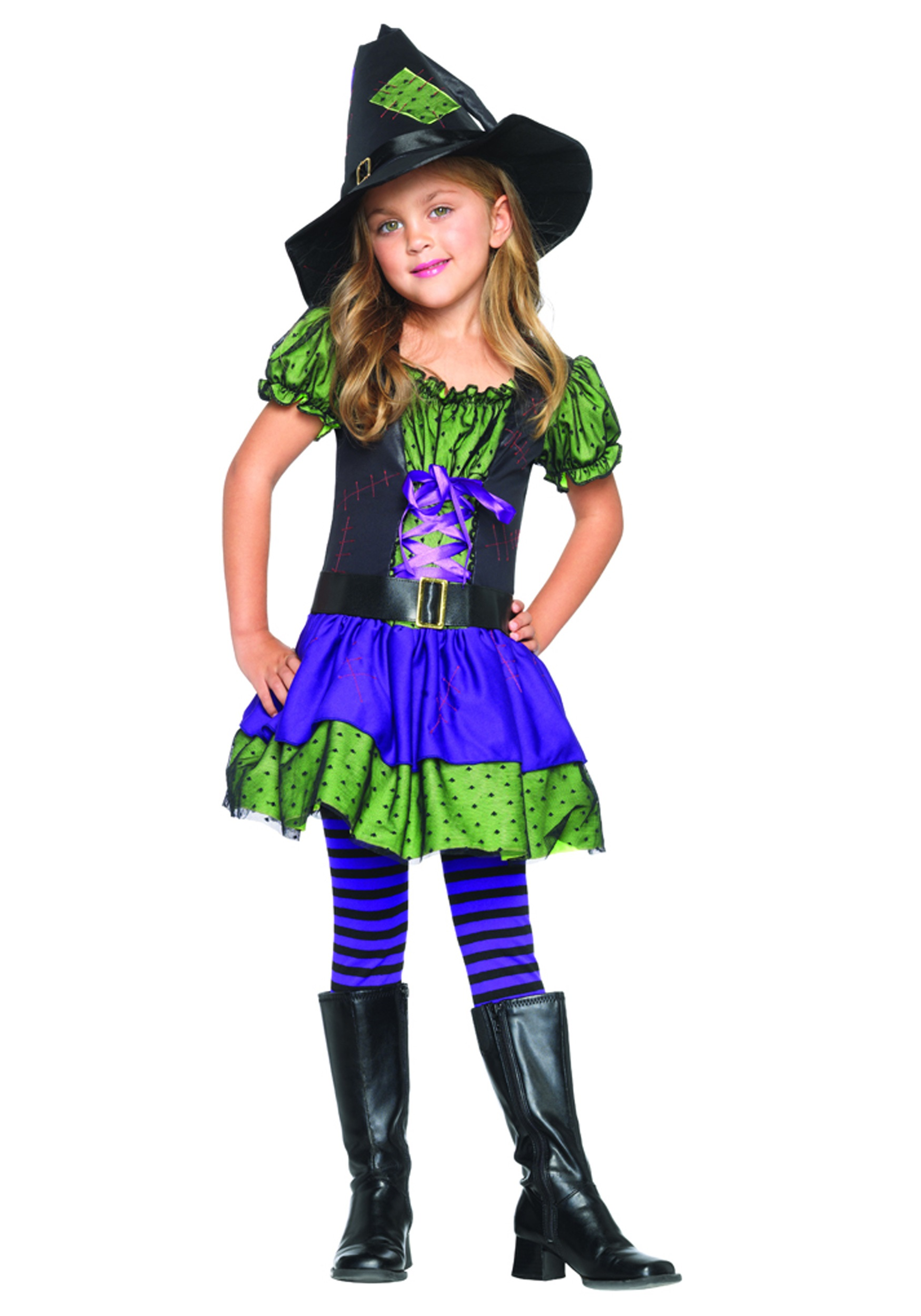 Colorful Child Witch Costume - Halloween Costumes
