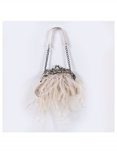 Cream Feather Bag with Chain, halloween costume (Cream Feather Bag with Chain)