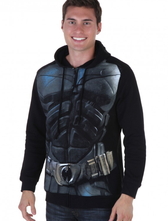 Dark Knight Mens Black Batman Hoodie, halloween costume (Dark Knight Mens Black Batman Hoodie)
