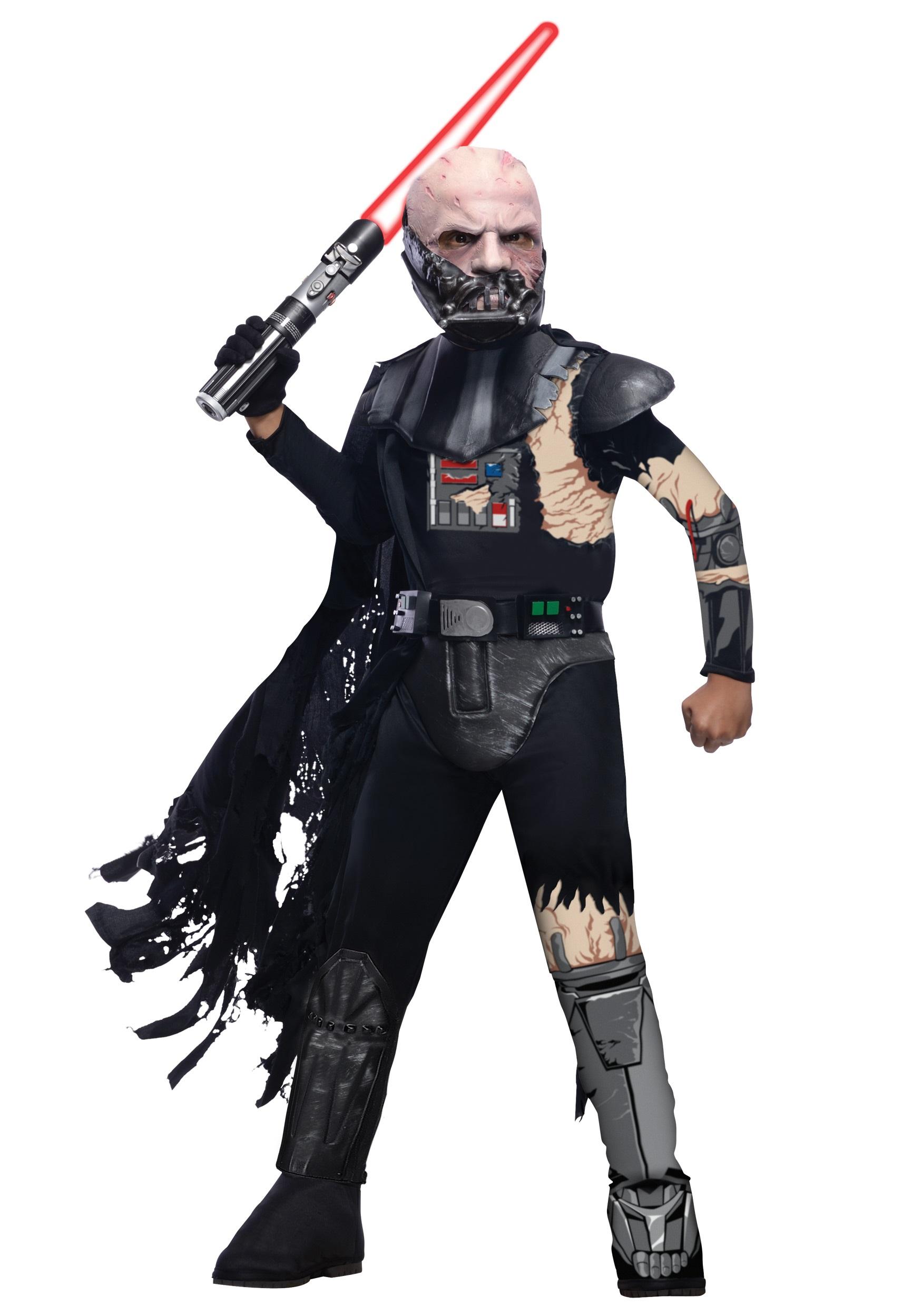 deluxe kids battle damaged darth vader costume