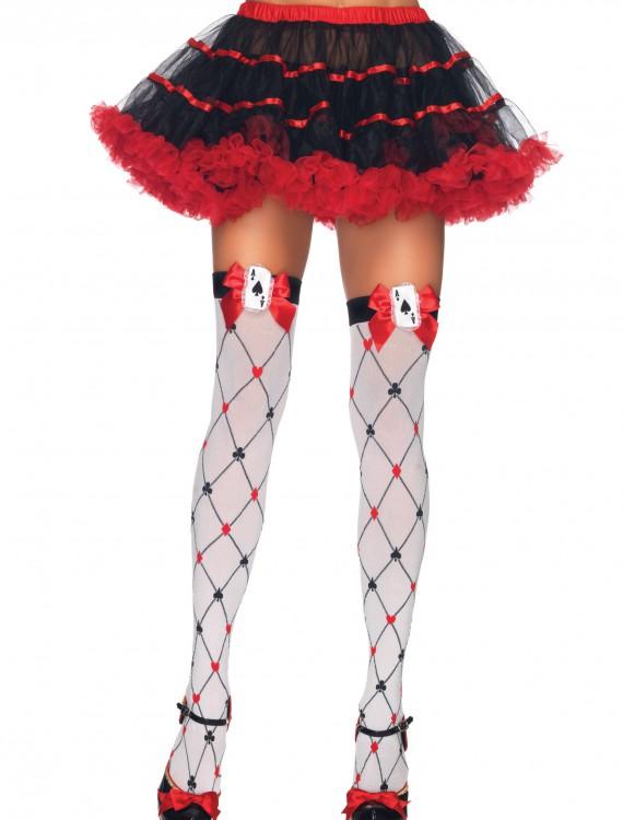 Diamond Card Suit Thigh Highs, halloween costume (Diamond Card Suit Thigh Highs)