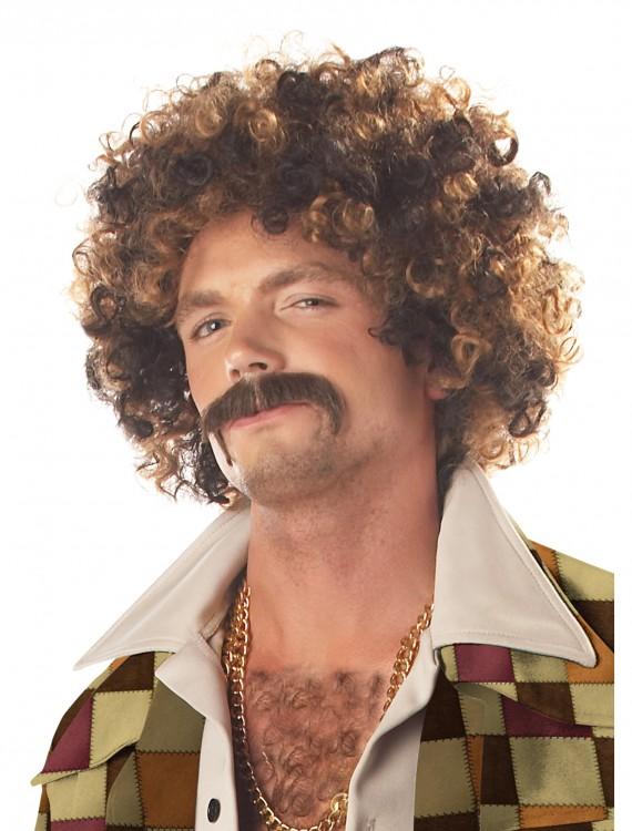 Disco Dirt Bag Wig and Mustache, halloween costume (Disco Dirt Bag Wig and Mustache)